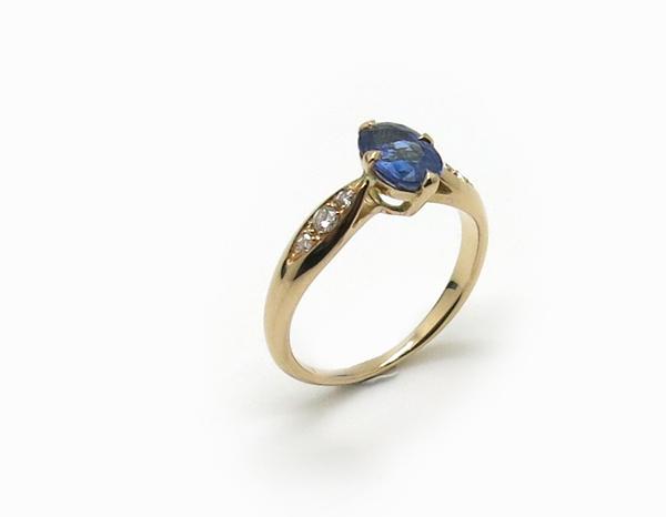 Bague de fiançailles Or rose, Saphir et diamants