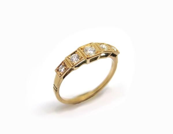 bague jarretière or rose cinq diamants