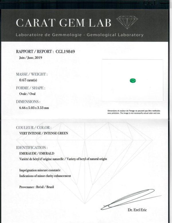 Certificat laboratoire emeraude