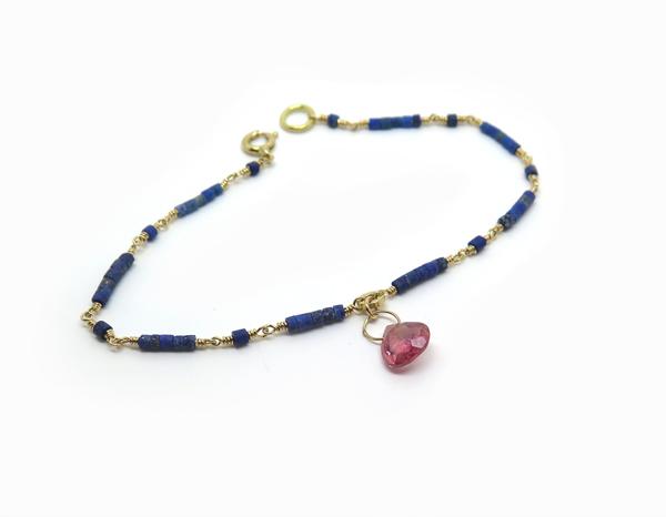 Bracelet fin en or et lapis lazuli