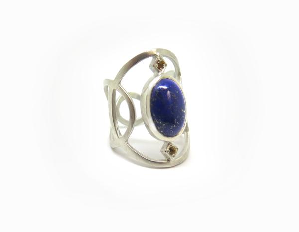 Bague large cabochon Argent, Lapis lazuli et Citrines