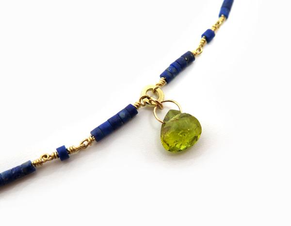Bracelet fin en or lapis lazuli et tourmaline