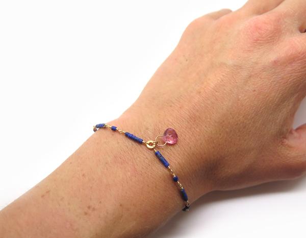 Bracelet fin lapis lazuli et tourmaline