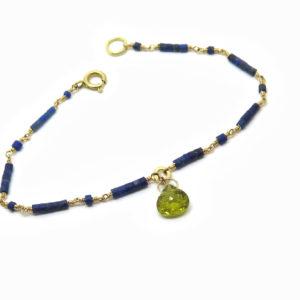 Bracelet fin en or jaune et lapis lazuli