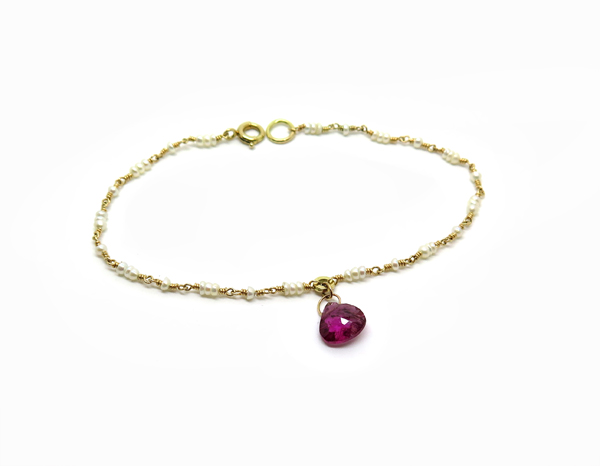 Bracelet fin en or jaune et perles