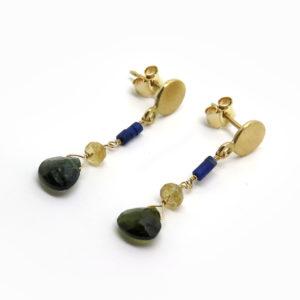 Boucles d'oreilles pendantes en or et pierres