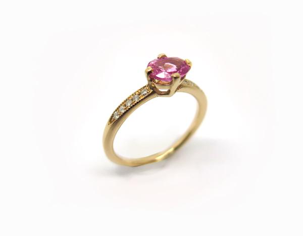 Solitaire en Saphir rose Or rose, Saphir rose et Diamants