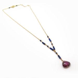 Chapelet en lapis lazuli et tourmaline rose