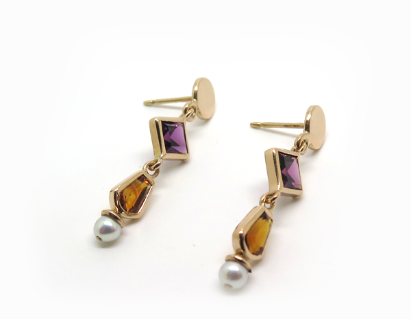pendants d'oreille or rose pierres