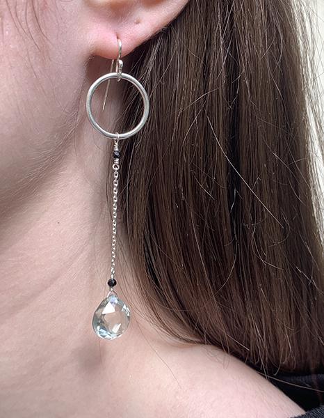 Boucles d'oreilles longues en argent