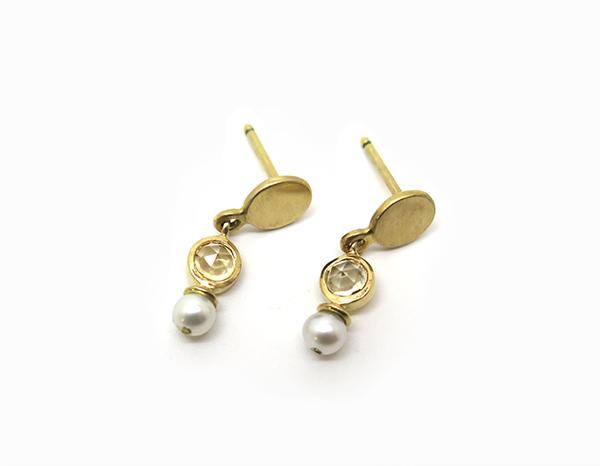 Boucles d'oreilles citrine perle
