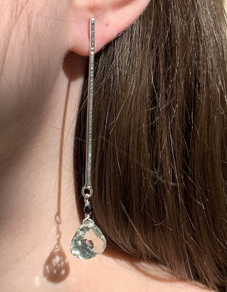 Boucles d'oreilles en argent serties de prasiolites