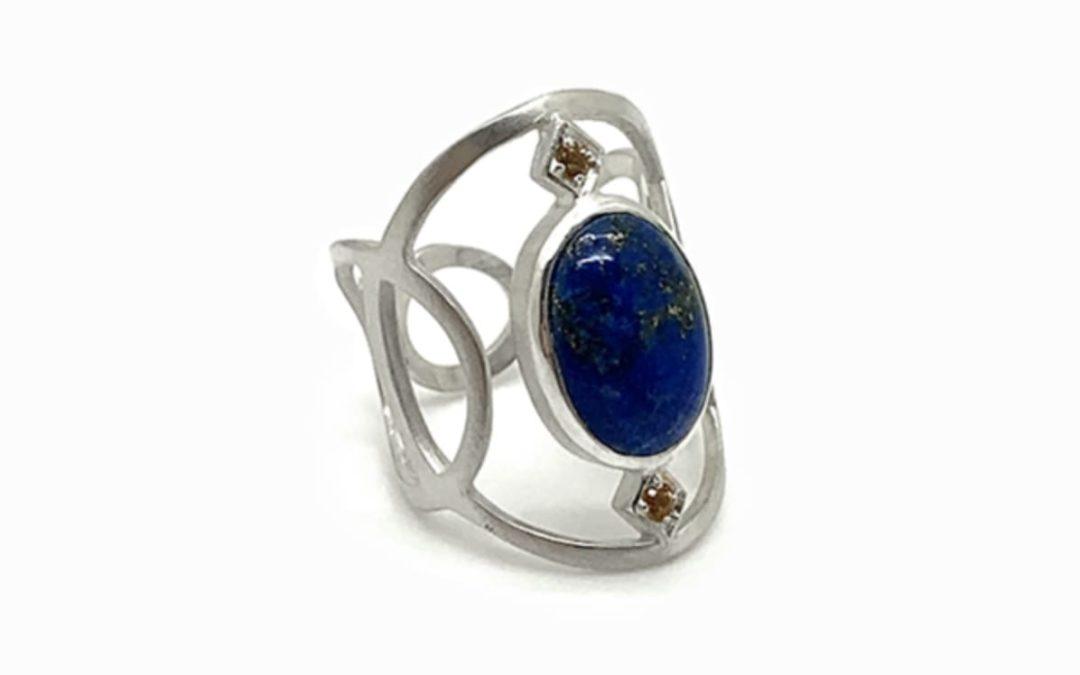 Bague large cabochon Argent, Lapis-Lazuli et Citrines