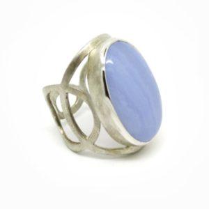 Argent et agate bleue